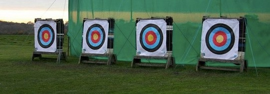 A line up of archery targets in a field.