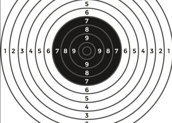 A set of shooting rings with scores to aim at.
